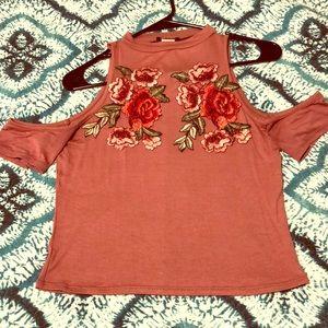 Rose Pattern pale pink crop of the shoulder top 🌹